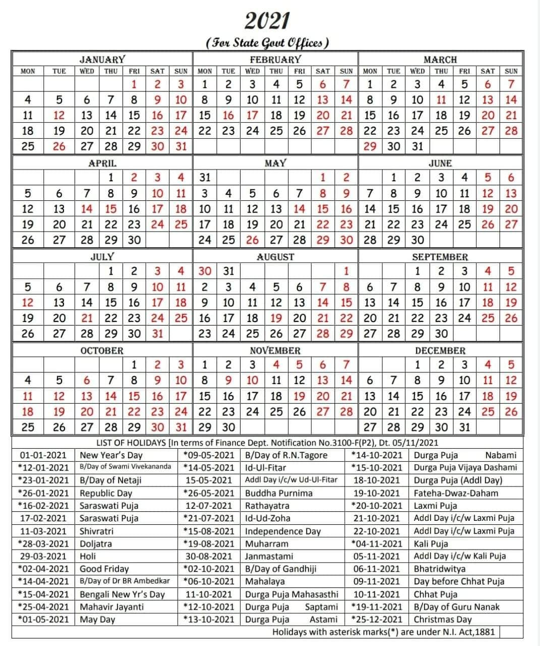 West Bengal Government Calendar 2021  IMAGES, GIF, ANIMATED GIF, WALLPAPER, STICKER FOR WHATSAPP & FACEBOOK