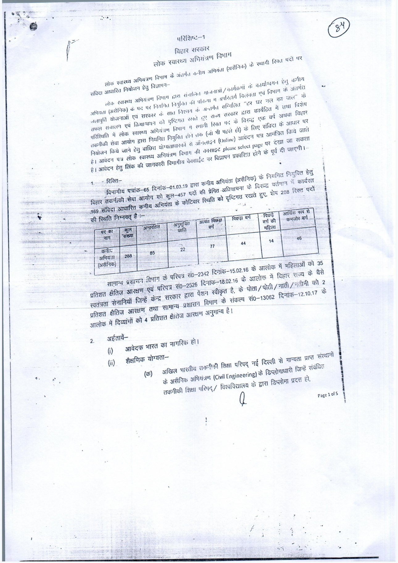 Recruitment of Junior Engineer (Civil) in Public Health Engineering Department, Govt of Bihar