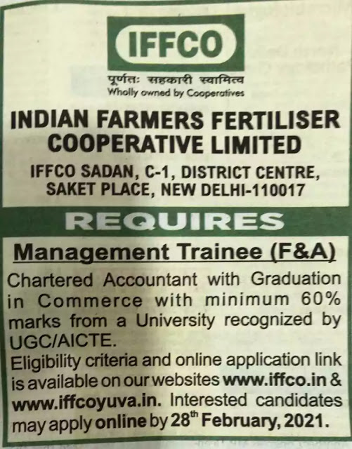IFFCO Management Trainee Finance Accounts Recruitment 2021