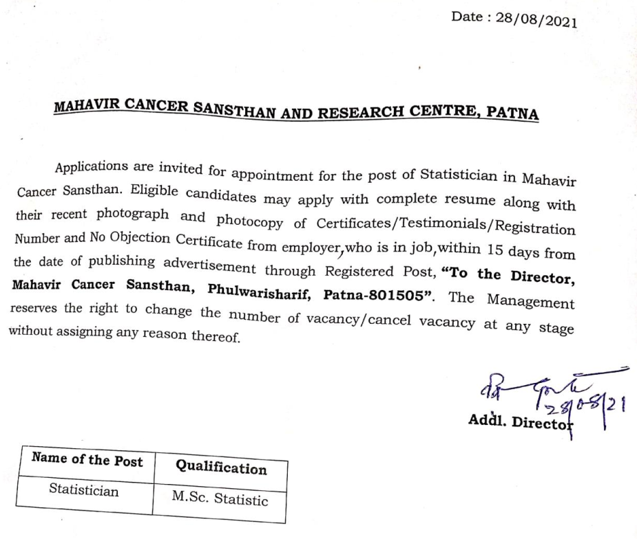 Application are invited for appointment for the Post of statistician in Mahavir Cancer Sansthan, Patna Bihar