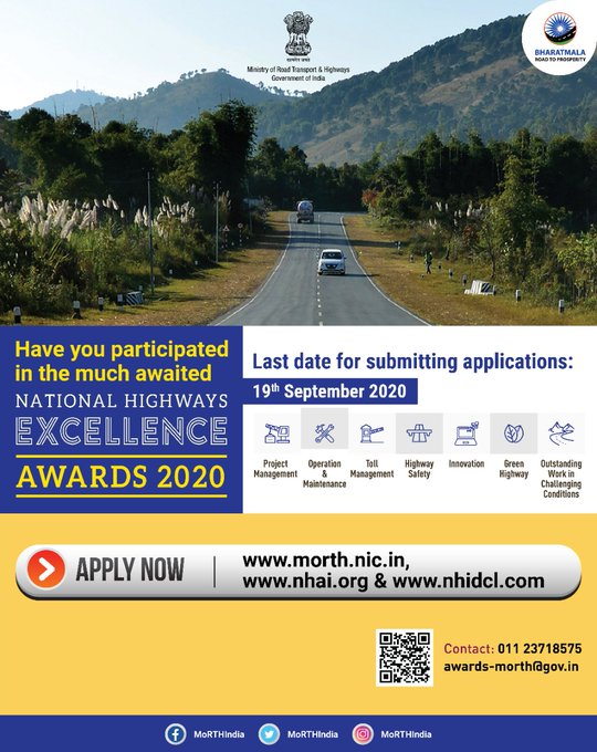 Applications invited for the National Highway Excellence Awards 2019