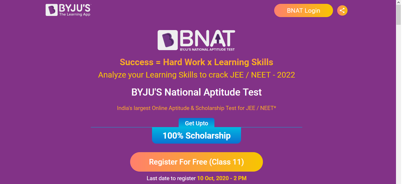 BYJU'S National Aptitude Test (BNAT) Will Guide You in Choosing the Right Career Path |  Last date to register 10 Oct, 2020 - 2 PM
