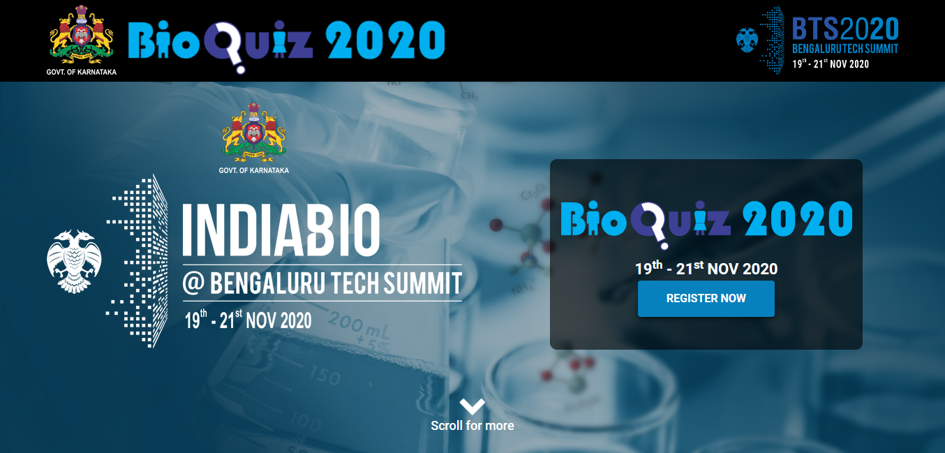 Government of Karnataka announces India's Largest State Level 12th edition of Biotech Quiz as a part of Bengaluru Tech Summit 2020
