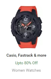 Casio, Fastrack & more Up to 80% Off Women Watches