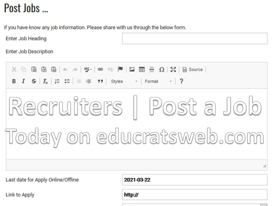 Recruiters | Post a Job Today on educratsweb.com