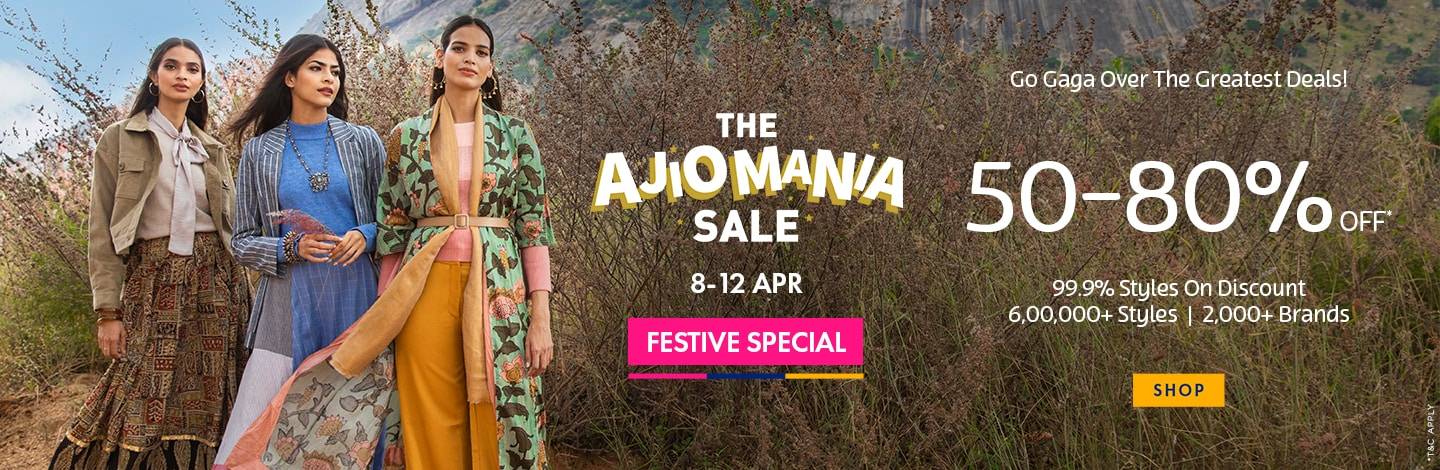 AJIO MANIA SALE is now LIVE !!!!! Get upto 50-80% OFF