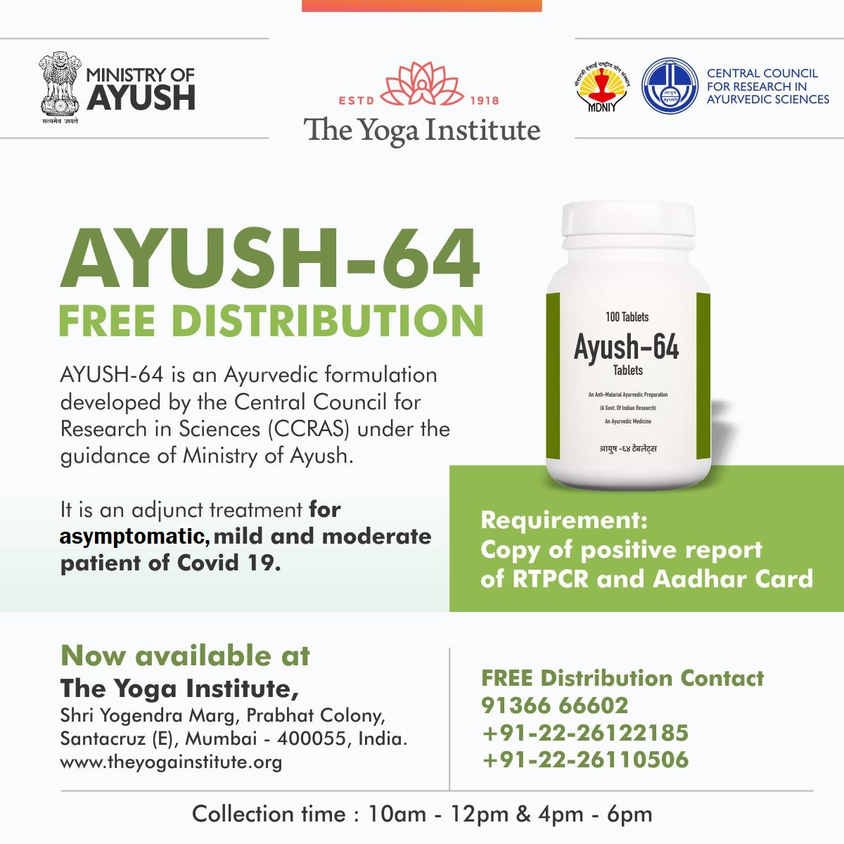The Yoga Institute Mumbai helping Ministry of Ayush with free distribution of Ayurvedic formulation AYUSH-64 for covid patients