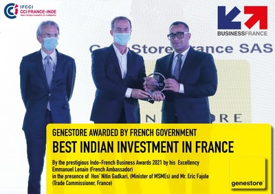Boost to France India Relations: Indian-origin Diagnostics company GeneStore awarded as best investment in France