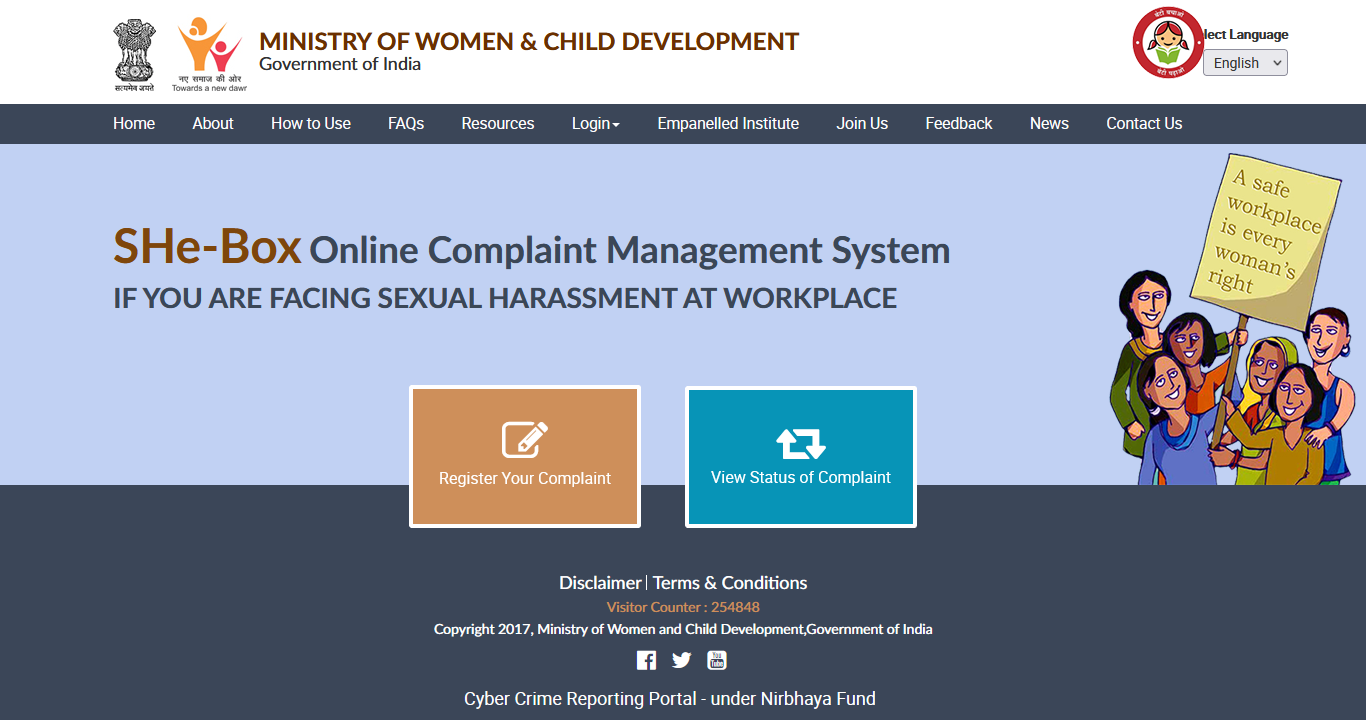 SHe-Box Online Complaint Management System IF YOU ARE FACING SEXUAL HARASSMENT AT WORKPLACE