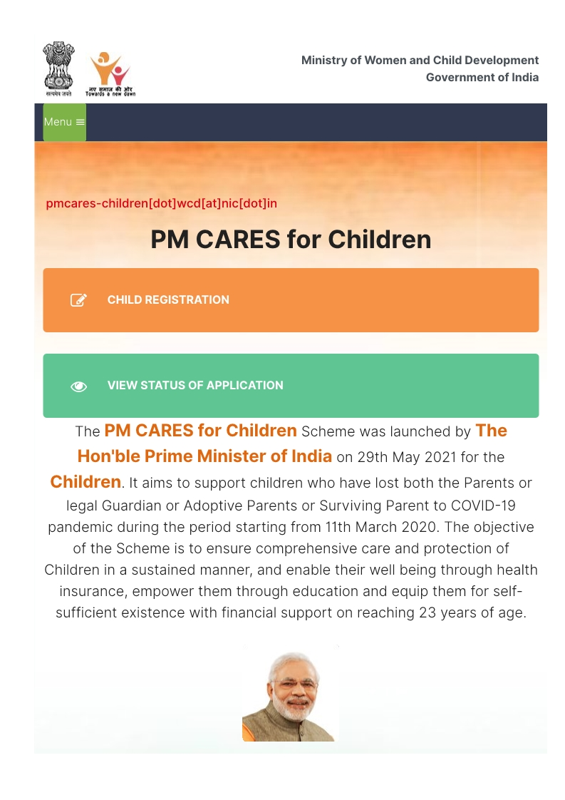 Ministry of Women and Child Development launches web based portal pmcaresforchildren.in to facilitate submission of applications, identification of children eligible to receive support under the 'PM CARES for Children' scheme
